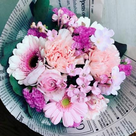 3月 長野 飯田1dayレッスン「さくら色のブーケ(生花)」作り