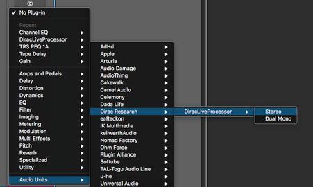Dirac Live for Studio プラグインの選択