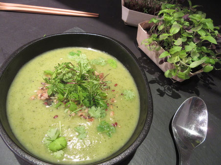 Crémeux de courgettes au curry et micro-pousses de La Ferme Positive