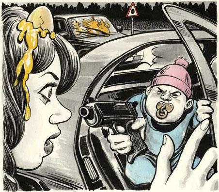 BABY RAPINATORI IN U.S.A., di A.Molino. Ink on paper. Da FOCUS, 2012