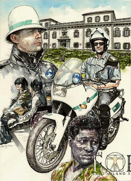 NUOVE PRESENZE PER LA MILANO DEL 2015, di A.Molino. Ink on paper. Proposta per il Calendario della Polizia Locale, 2009