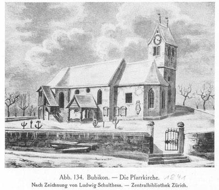 Die Kirche Bubikon im Jahr 1841: Grabmale und Grabplatten zeugen von früheren Gräbern bei der Kirche.