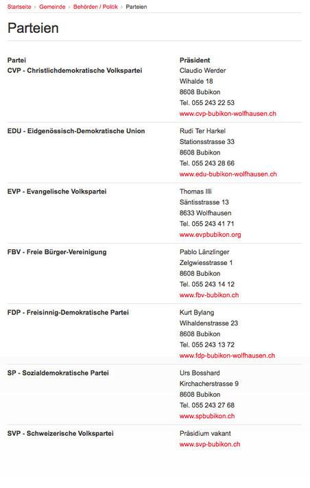 Parteienliste auf www.bubikon.ch, Stand Mittwochmorgen: EVP wieder da, SVP-Präsidium bleibt vakant
