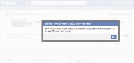 """Keine Posts über die Facebook-Seite von """"buebikernews"""""""
