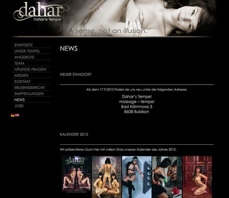 "Screenshot: Website ""Dahar's Tempel"""