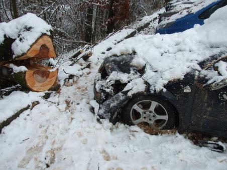 Diesen Audi hat es besonders bös erwischt (Bilder: © buebikernews.com)