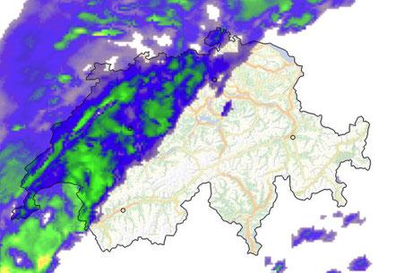 Niederschlagsprognose für Mitternacht (Bild: meteoschweiz.ch)