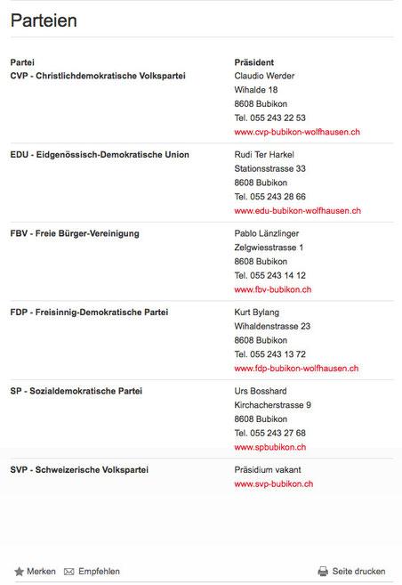 Die Parteienliste auf www.bubikon.ch am Dienstagabend: SVP-Präsidium vakant, EVP fehlt ganz