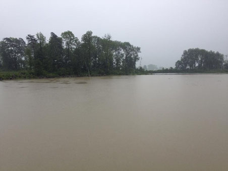 Überschwemmungen im Linthgebiet: Hänggelgiessen bei Benken (Bild: S. Künzle)