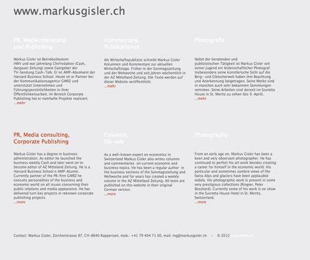 """...und auf seiner eigenen Homepage, die von den """"Obersee Nachrichten"""" offenbar nicht gefunden wurde."""