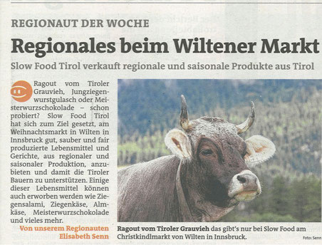Slow Food Tirol am Wiltener Platzl: Bezirksblatt
