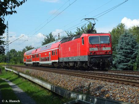 143 809-2 verlässt am 13. August 2013 den Hp Dresden Stetzsch