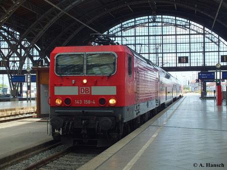 143 158-4 fährt am 22. Juni 2013 in den Leipziger Hbf. ein