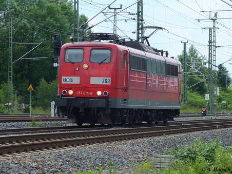 Am 12. Juni 2013 durchfährt 151 014-8 (Lok 269 RBH) die gleiche Stelle aus der Gegenrichtung kommend als Lz