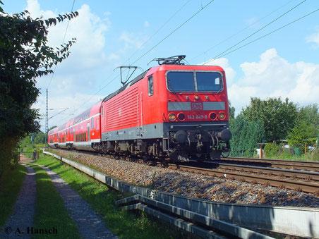 143 849-8 durchfährt bei bestem Wetter Dresden Stetzsch (13. August 2013)