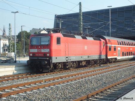 143 342-4 hat Ausfahrt aus Chemnitz Hbf. Richtung Dresden (4. September 2012)