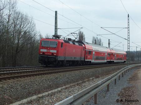 Am 22. März 2014 durchfährt 143 093-3 mit RB nach Elsterwerda den Abzweig Furth in Chemnitz
