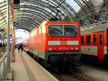 143 173-3 am 29. Dezember 2012 in Dresden Hbf.
