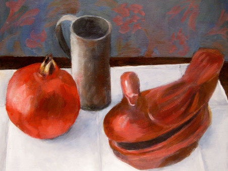 Granatapfel mit Entendose, Öl auf Lw, 24x30