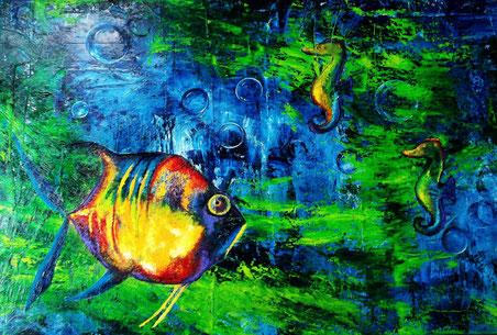 Strömung - Öl auf Leinwand - 100 x 150