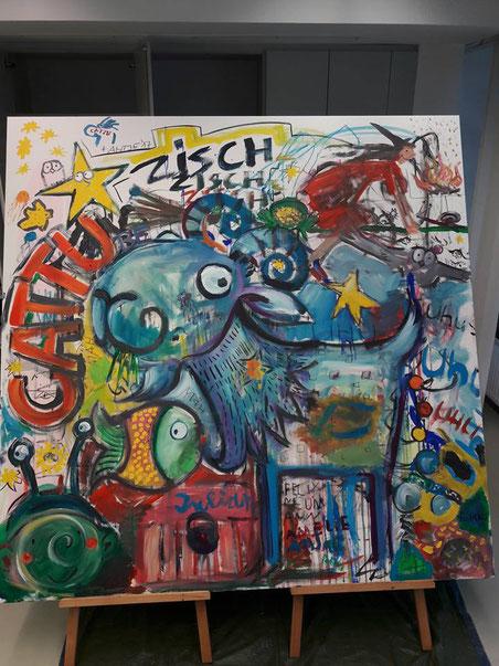 Action painting im 360° mit Kindern zu Musik von CATTU
