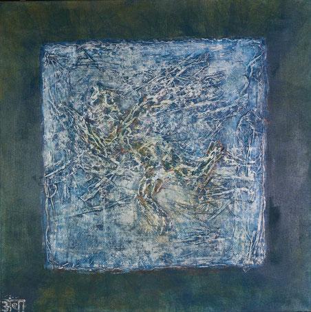 """""""Ikarus""""; Acryl, Chinapaper, Relief aus der Reihe """"Touchables""""; 90 x 90 cm, verkauft"""