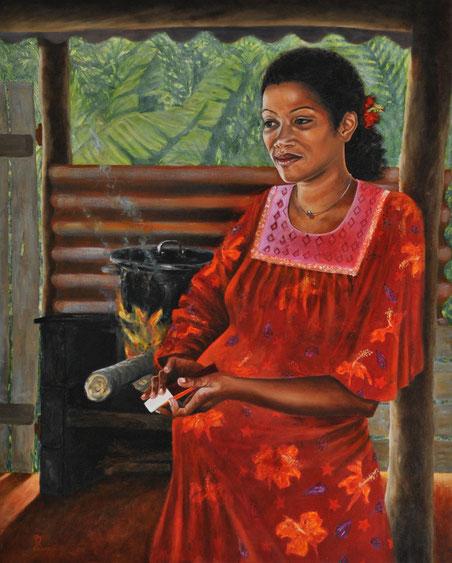 peinture-kanak-calédonie-femme-nouvelle-calédonie-tribu-robe-popinée