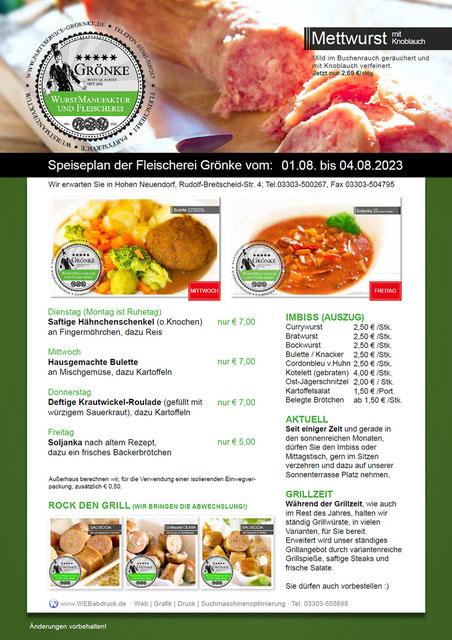 Speiseplan der Fleischerei & Partyservice Grönke