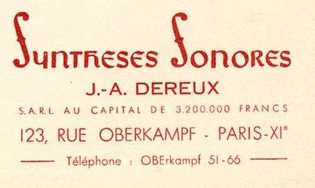 Plaque signalétique de l'entreprise J.A Dereux à Paris