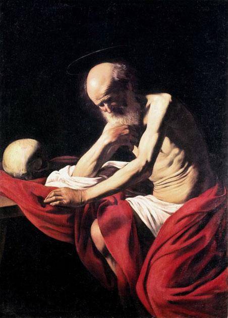 Святой Иероним в раздумьи - картины Караваджо