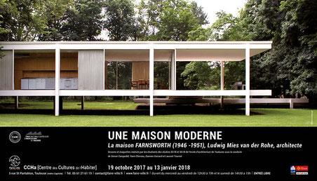 """Affiche de l'exposition """"Une maison moderne, Mies van der Rohe architecte"""" au CCHa, Toulouse"""