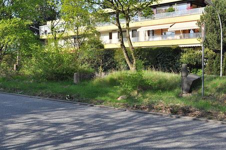 Foto: Ajepbah (Wikipedia)  | Grenzsteine, Säulen und Steinbänke auf dem Grünstreifen in der Mitte der Hammer Straße in Hamburg-Marienthal  | Lizenz: CC-BY-SA