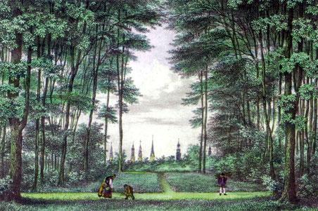 Blick vom Gehölz auf die Hamburger Kirchtürme 1835