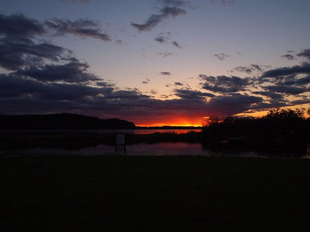 達古武湖の夕陽