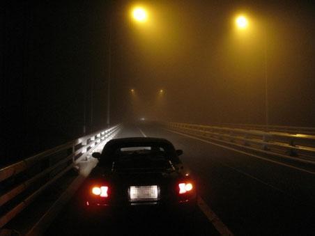 2:06 室蘭白鳥大橋 物凄いガスで視界不良