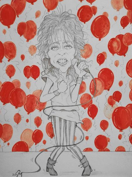Bleistiftzeichnung, und rote Wasserfarben (24 x 32 cm)