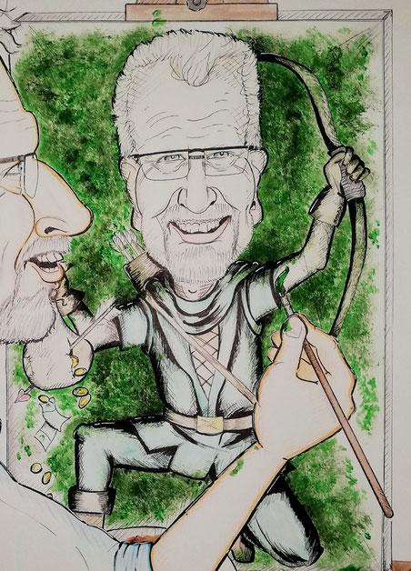 ...er malt sich als 'Robin Hood', weil er sehr hilfsbereit und wohltätig ist...