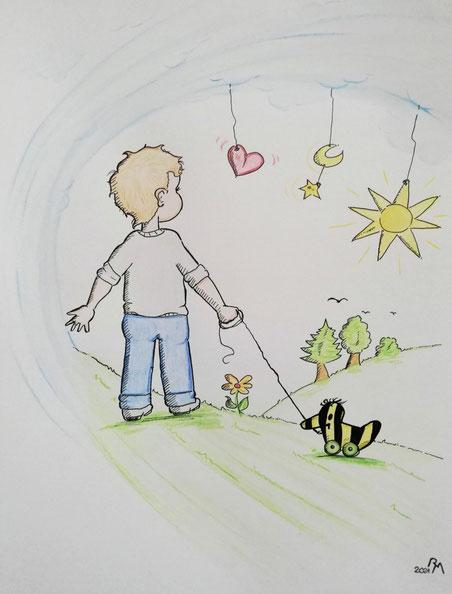 ...mit Buntstiften in einem kindlichen Stil gemalt.