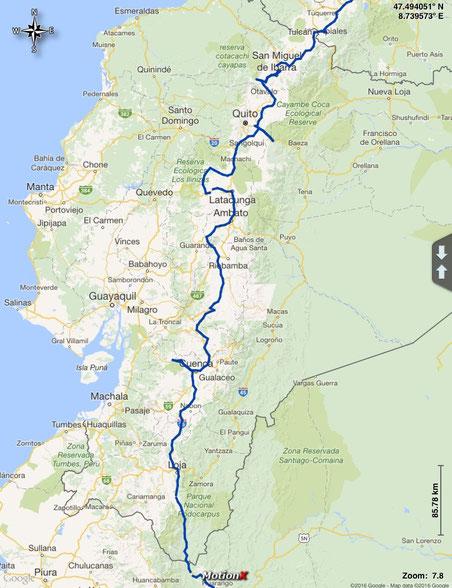 gefahrene Route durch Ecuador