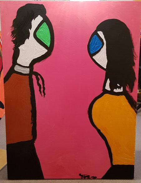"""Die Miguren - """"Liebe"""" 1,60 m x 1,20 m Acryl auf Leinwand Frau Nancy 2019"""