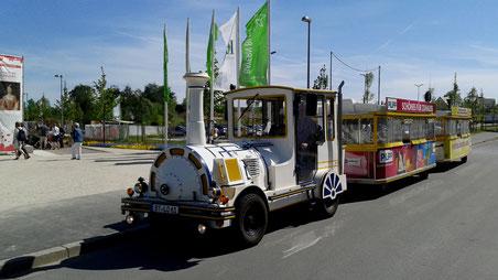 Mit der Tschu-Tschu-Bahn eine gemütliche und barrierefreie Fahrt durch Bayreuth.