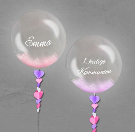 Luftballon Ballon Geschenk Bubble Wunschbubble elegant exlusiv Versand Helium Geburt Kommunion mit Name personalisiert Personalisierung Herz Überraschung Deko Dekoration Geschenk Mitbringsel Konfirmation Firmung Junge Mädchen Jugendweihe Herz