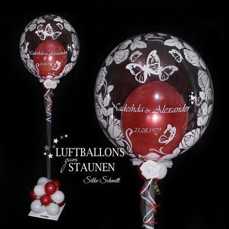 Luftballon Ballon Geschenk Bubble Wunschbubble Standesamt Heirat Brautpaar Helium Hochzeit Liebe mit Name personalisiert Personalisierung Herz Überraschung Deko Dekoration Mitbringsel  Ballonversand Versand Ballongruß Box Ballonbox Brautpaar Schatz