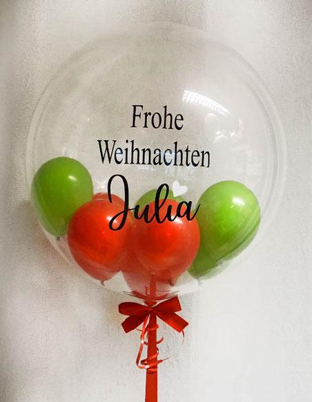 Luftballon Ballon Geschenk Bubble Wunschbubble elegant exlusiv Versand Helium Geburtstag Weihnachten mit Name personalisiert Personalisierung Herz Überraschung Deko Dekoration Geschenk Mitbringsel Weihnachtszeit Junge Mädchen grün rot Schleife