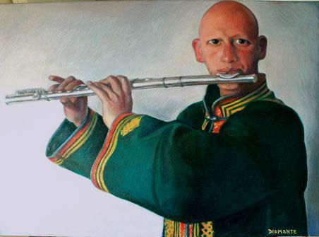 Ragazzo che suona il flauto, opera di Patrizia Diamante, olio su tela. 2013