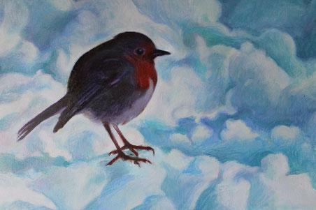 Pettirosso nella neve, olio su tela. 2012