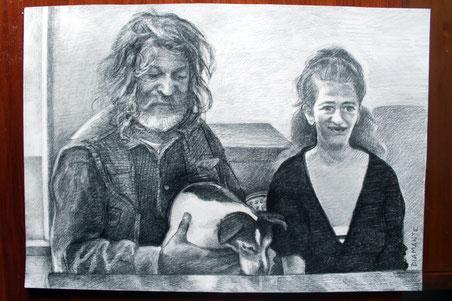 Leo e Mirella con la cagnolina Frida, doppio ritratto con Frida. Grafite su carta, 2017