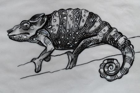 Camaleonte di profilo - disegno a pennarello per tatuaggio