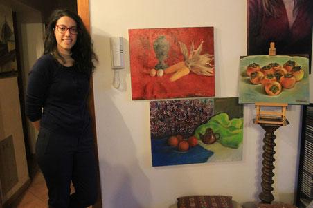 Ottavia Villani, curatrice d'arte, in visita nell'Atelier Diamante. 2016