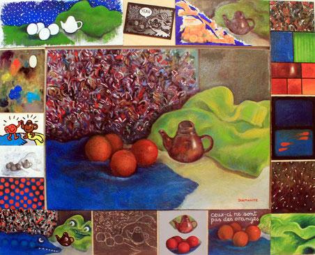 Natura morta con arance e Pollock & citazioni di vari artist contemporaneii, opera di Patrizia Diamante, olio su tela, tecniche miste su cornice